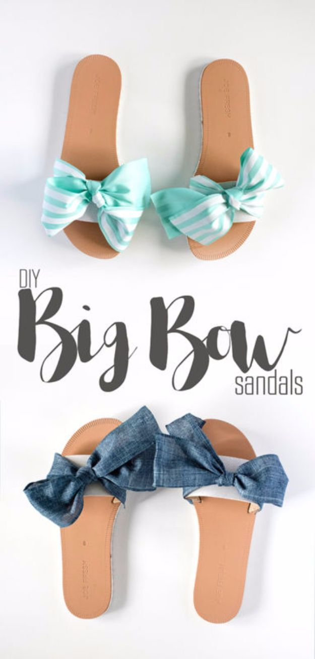 DIY Teen Fashion for Spring - DIY Big Bow Sandals - Easy Homemade Clothing Tutorials and Things To Make To Wear - Cute Patterns and Projects for Teens to Make, T-Shirts, Skirts, Dresses, Shorts and Ideas for Jeans - Tops, Tanks and Tees With Free Tutorial Ideas and Instructions http://diyprojectsforteens.com/teen-fashion-spring