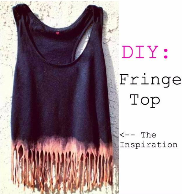 DIY Teen Fashion for Spring - DIY Fringe Top - Easy Homemade Clothing Tutorials and Things To Make To Wear - Cute Patterns and Projects for Teens to Make, T-Shirts, Skirts, Dresses, Shorts and Ideas for Jeans - Tops, Tanks and Tees With Free Tutorial Ideas and Instructions http://diyprojectsforteens.com/teen-fashion-spring