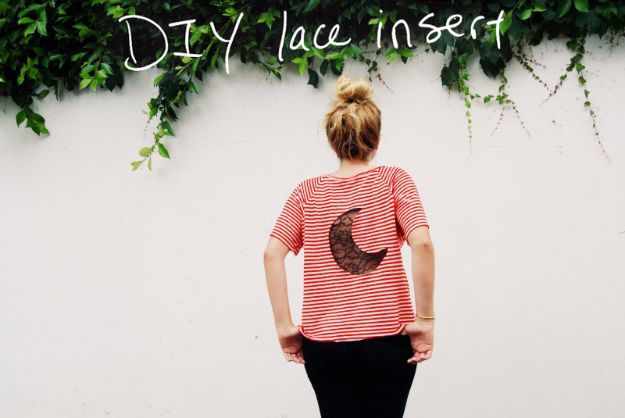 DIY Teen Fashion for Spring - DIY Lace Insert Tee - Easy Homemade Clothing Tutorials and Things To Make To Wear - Cute Patterns and Projects for Teens to Make, T-Shirts, Skirts, Dresses, Shorts and Ideas for Jeans - Tops, Tanks and Tees With Free Tutorial Ideas and Instructions http://diyprojectsforteens.com/teen-fashion-spring