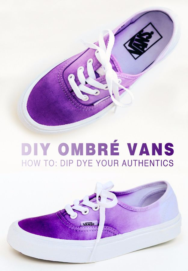 DIY Teen Fashion for Spring - DIY Ombre Vans - Easy Homemade Clothing Tutorials and Things To Make To Wear - Cute Patterns and Projects for Teens to Make, T-Shirts, Skirts, Dresses, Shorts and Ideas for Jeans - Tops, Tanks and Tees With Free Tutorial Ideas and Instructions http://diyprojectsforteens.com/teen-fashion-spring