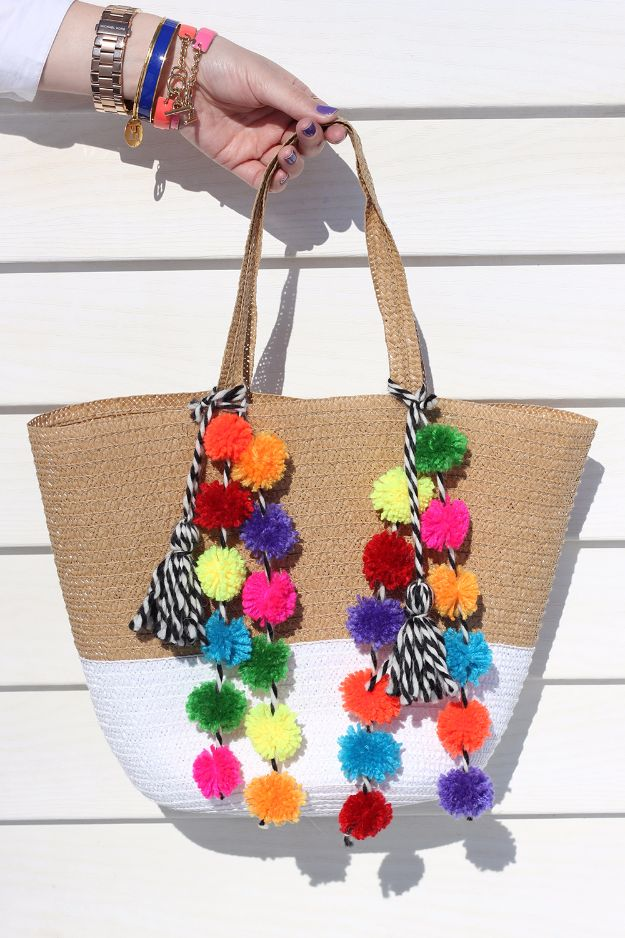 DIY Teen Fashion for Spring - DIY Pom Pom Bag - Easy Homemade Clothing Tutorials and Things To Make To Wear - Cute Patterns and Projects for Teens to Make, T-Shirts, Skirts, Dresses, Shorts and Ideas for Jeans - Tops, Tanks and Tees With Free Tutorial Ideas and Instructions http://diyprojectsforteens.com/teen-fashion-spring