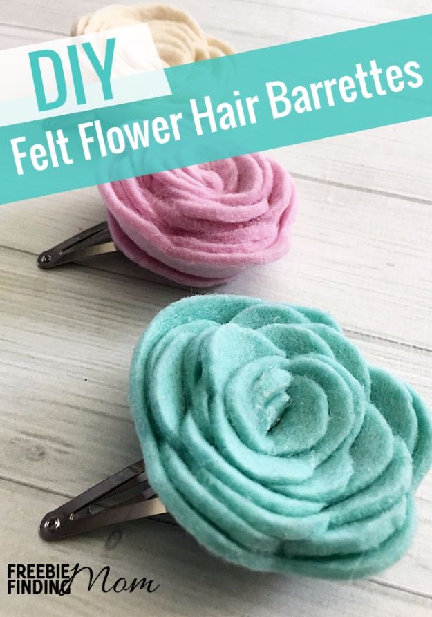 DIY Teen Fashion for Spring - Felt Flower DIY Hair Clips - Easy Homemade Clothing Tutorials and Things To Make To Wear - Cute Patterns and Projects for Teens to Make, T-Shirts, Skirts, Dresses, Shorts and Ideas for Jeans - Tops, Tanks and Tees With Free Tutorial Ideas and Instructions http://diyprojectsforteens.com/teen-fashion-spring