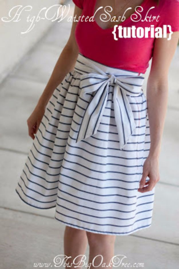 DIY Teen Fashion for Spring - High-Waisted Sash Skirt - Easy Homemade Clothing Tutorials and Things To Make To Wear - Cute Patterns and Projects for Teens to Make, T-Shirts, Skirts, Dresses, Shorts and Ideas for Jeans - Tops, Tanks and Tees With Free Tutorial Ideas and Instructions http://diyprojectsforteens.com/teen-fashion-spring