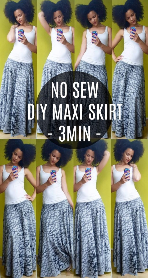 DIY Teen Fashion for Spring -No Sew DIY Maxi Skirt - Easy Homemade Clothing Tutorials and Things To Make To Wear - Cute Patterns and Projects for Teens to Make, T-Shirts, Skirts, Dresses, Shorts and Ideas for Jeans - Tops, Tanks and Tees With Free Tutorial Ideas and Instructions http://diyprojectsforteens.com/teen-fashion-spring