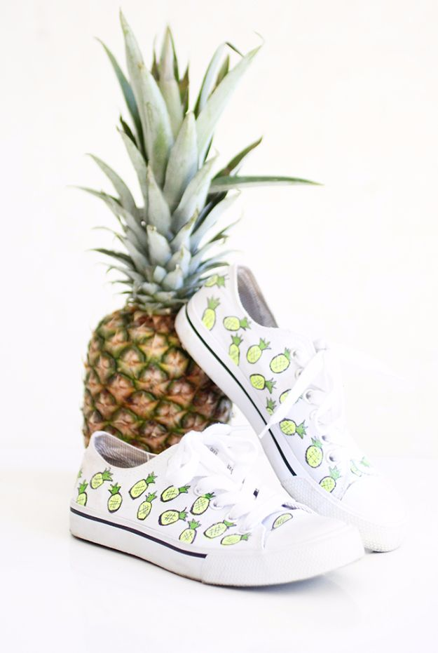 DIY Teen Fashion for Spring - Pineapple Cotton Canvas Sneakers - Easy Homemade Clothing Tutorials and Things To Make To Wear - Cute Patterns and Projects for Teens to Make, T-Shirts, Skirts, Dresses, Shorts and Ideas for Jeans - Tops, Tanks and Tees With Free Tutorial Ideas and Instructions http://diyprojectsforteens.com/teen-fashion-spring