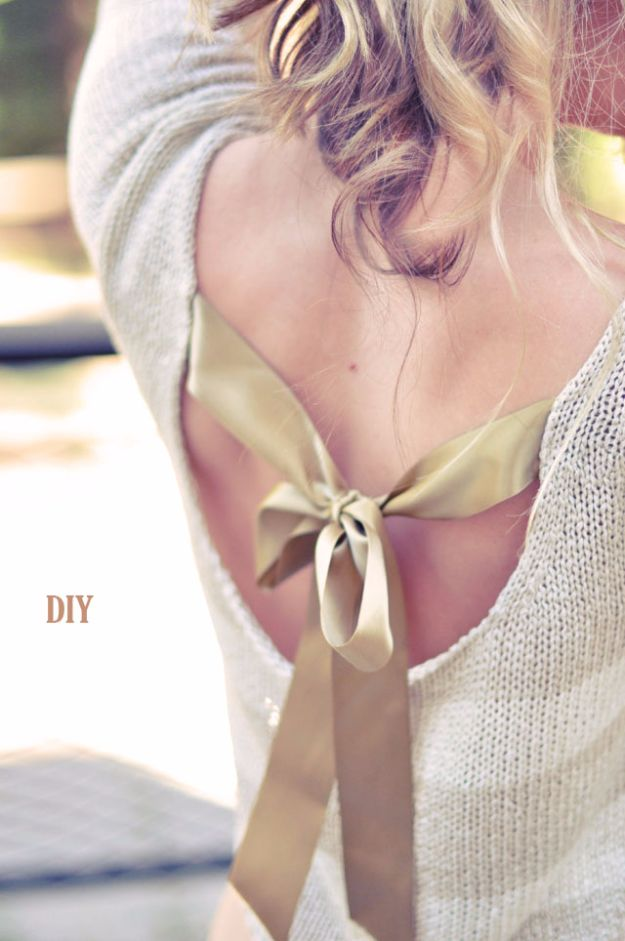 DIY Teen Fashion for Spring - Pretty DIY Bow Sweater With Open Back - Easy Homemade Clothing Tutorials and Things To Make To Wear - Cute Patterns and Projects for Teens to Make, T-Shirts, Skirts, Dresses, Shorts and Ideas for Jeans - Tops, Tanks and Tees With Free Tutorial Ideas and Instructions http://diyprojectsforteens.com/teen-fashion-spring