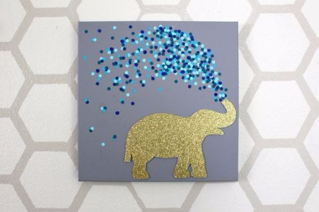 DIY Ideas With Elephants - 30 Minute Elephant Canvas - Easy Wall Art Ideas, Crafts, Jewelry, Arts and Craft Projects for Kids, Teens and Adults- Simple Canvases, Throw Pillows, Cute Paintings for Nurseries, Dollar Store Crafts and Fun Dorm Room and Bedroom Decor - Tutorials for Crafty Ideas Decorated With an Elephant http://diyprojectsforteens.com/diy-ideas-elephants