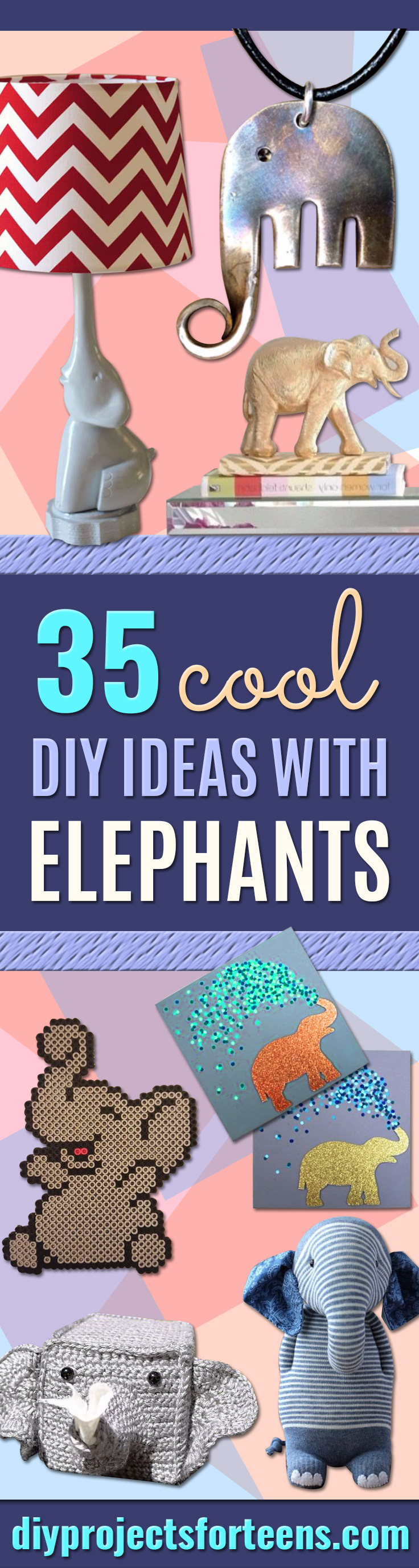 DIY Ideas With Elephants - Easy Wall Art Ideas, Crafts, Jewelry, Arts and Craft Projects for Kids, Teens and Adults- Simple Canvases, Throw Pillows, Cute Paintings for Nurseries, Dollar Store Crafts and Fun Dorm Room and Bedroom Decor - Tutorials for Crafty Ideas Decorated With an Elephant http://diyprojectsforteens.com/diy-ideas-elephants