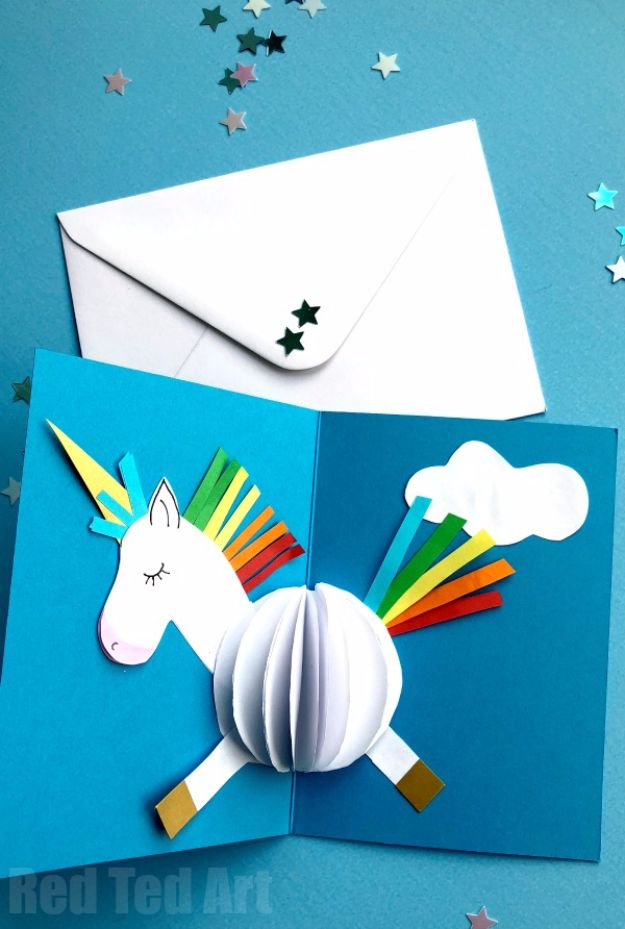 DIY Ideas With Unicorns - 3D Unicorn Card DIY - Cute and Easy DIY Projects for Unicorn Lovers - Wall and Home Decor Projects, Things To Make and Sell on Etsy - Quick Gifts to Make for Friends and Family - Homemade No Sew Projects and Pillows - Fun Jewelry, Desk Decor Cool Clothes and Accessories http://diyprojectsforteens.com/diy-ideas-unicorns