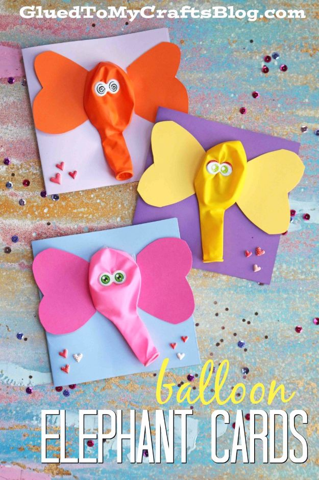 DIY Ideas With Elephants - Balloon Elephant Card - Easy Wall Art Ideas, Crafts, Jewelry, Arts and Craft Projects for Kids, Teens and Adults- Simple Canvases, Throw Pillows, Cute Paintings for Nurseries, Dollar Store Crafts and Fun Dorm Room and Bedroom Decor - Tutorials for Crafty Ideas Decorated With an Elephant