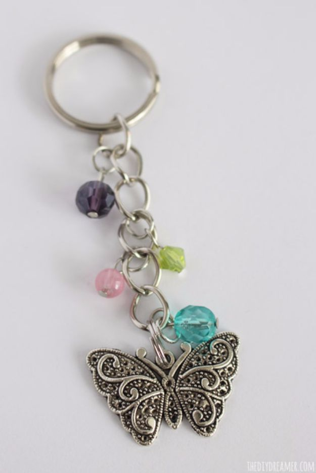 DIY Ideas With Butterflies - Butterfly Beaded Keychain - Cute and Easy DIY Projects for Butterfly Lovers - Wall and Home Decor Projects, Things To Make and Sell on Etsy - Quick Gifts to Make for Friends and Family - Homemade No Sew Projects- Fun Jewelry, Cool Clothes and Accessories http://diyprojectsforteens.com/diy-ideas-butterflies