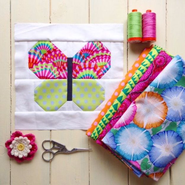 DIY Ideas With Butterflies - Butterfly Fabric Block - Cute and Easy DIY Projects for Butterfly Lovers - Wall and Home Decor Projects, Things To Make and Sell on Etsy - Quick Gifts to Make for Friends and Family - Homemade No Sew Projects- Fun Jewelry, Cool Clothes and Accessories http://diyprojectsforteens.com/diy-ideas-butterflies