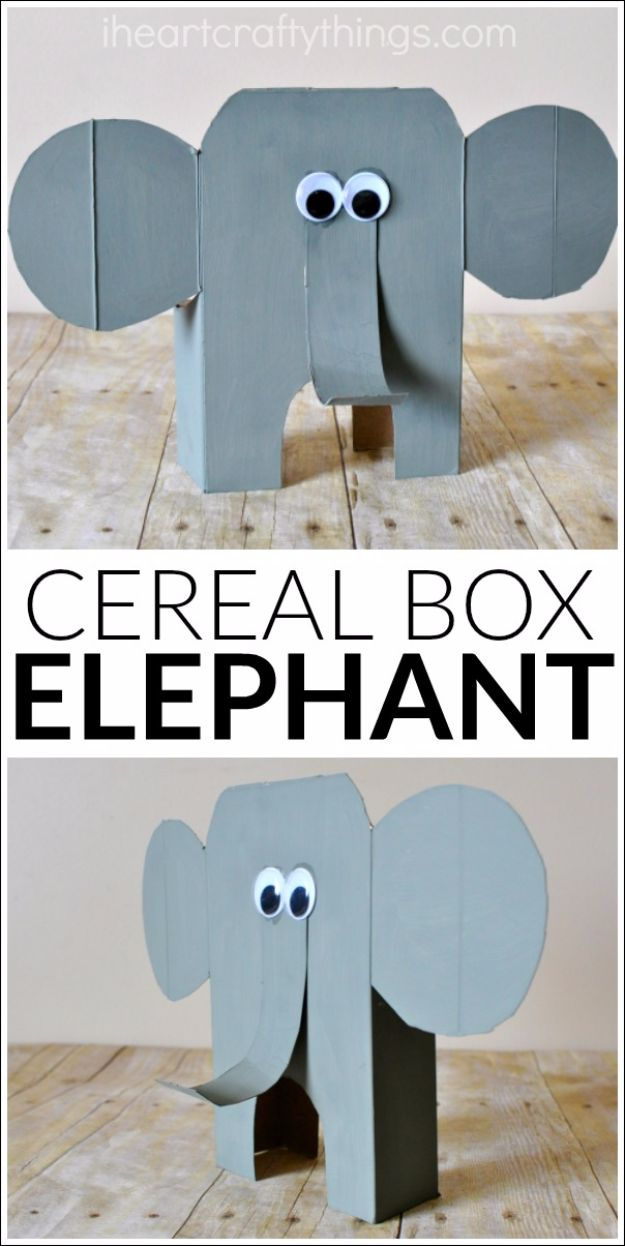 DIY Ideas With Elephants - Cereal Box Elephant - Easy Wall Art Ideas, Crafts, Jewelry, Arts and Craft Projects for Kids, Teens and Adults- Simple Canvases, Throw Pillows, Cute Paintings for Nurseries, Dollar Store Crafts and Fun Dorm Room and Bedroom Decor - Tutorials for Crafty Ideas Decorated With an Elephant http://diyprojectsforteens.com/diy-ideas-elephants