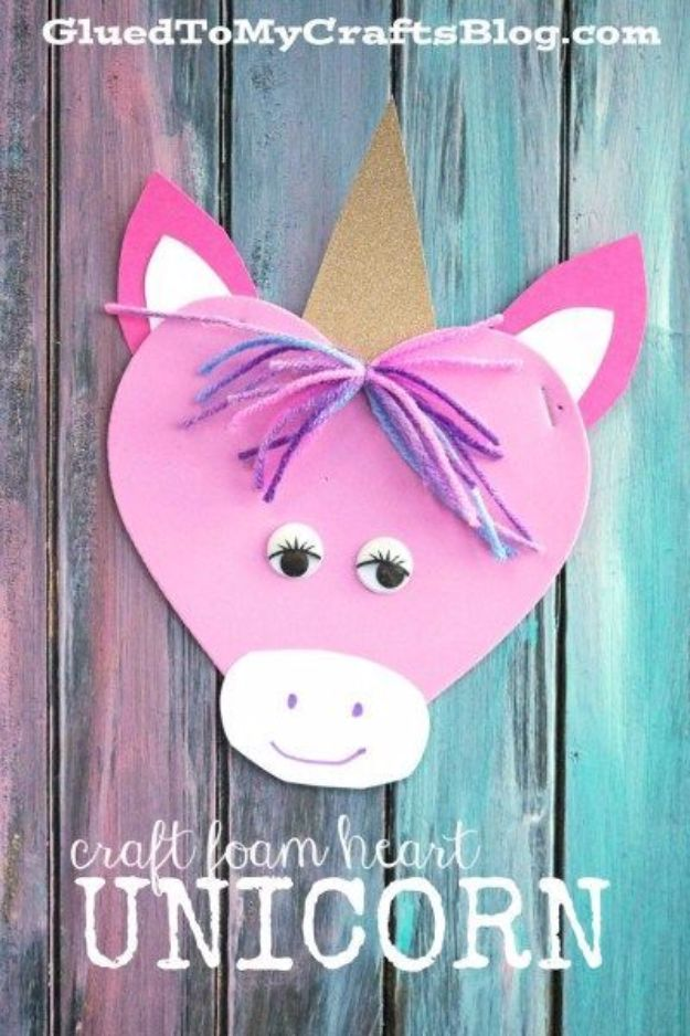DIY Ideas With Unicorns - Craft Foam Heart Unicorn - Cute and Easy DIY Projects for Unicorn Lovers - Wall and Home Decor Projects, Things To Make and Sell on Etsy - Quick Gifts to Make for Friends and Family - Homemade No Sew Projects and Pillows - Fun Jewelry, Desk Decor Cool Clothes and Accessories