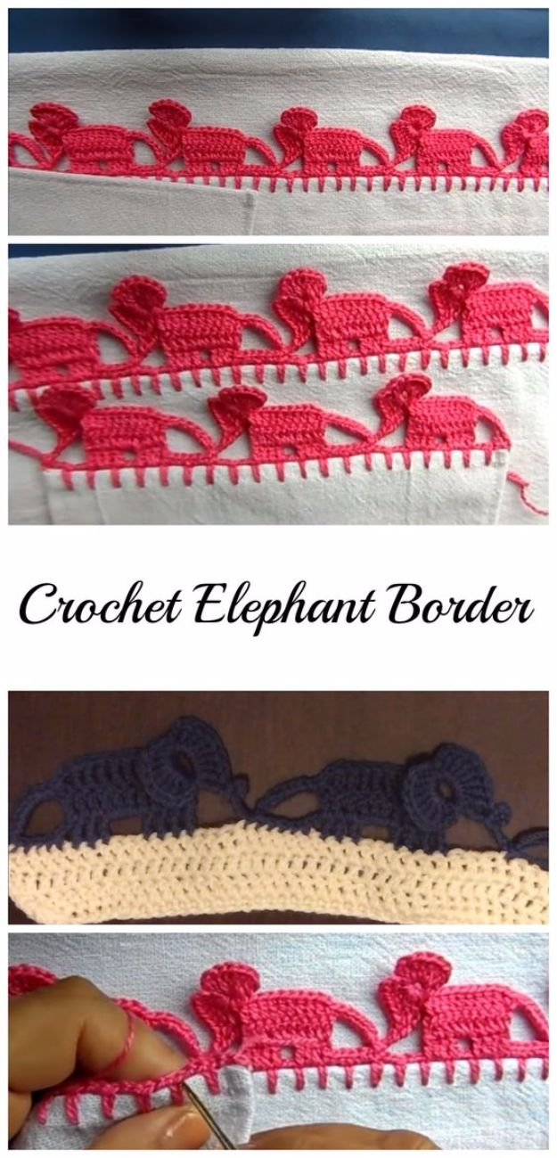 DIY Ideas With Elephants - Crochet Elephant Border - Easy Wall Art Ideas, Crafts, Jewelry, Arts and Craft Projects for Kids, Teens and Adults- Simple Canvases, Throw Pillows, Cute Paintings for Nurseries, Dollar Store Crafts and Fun Dorm Room and Bedroom Decor - Tutorials for Crafty Ideas Decorated With an Elephant