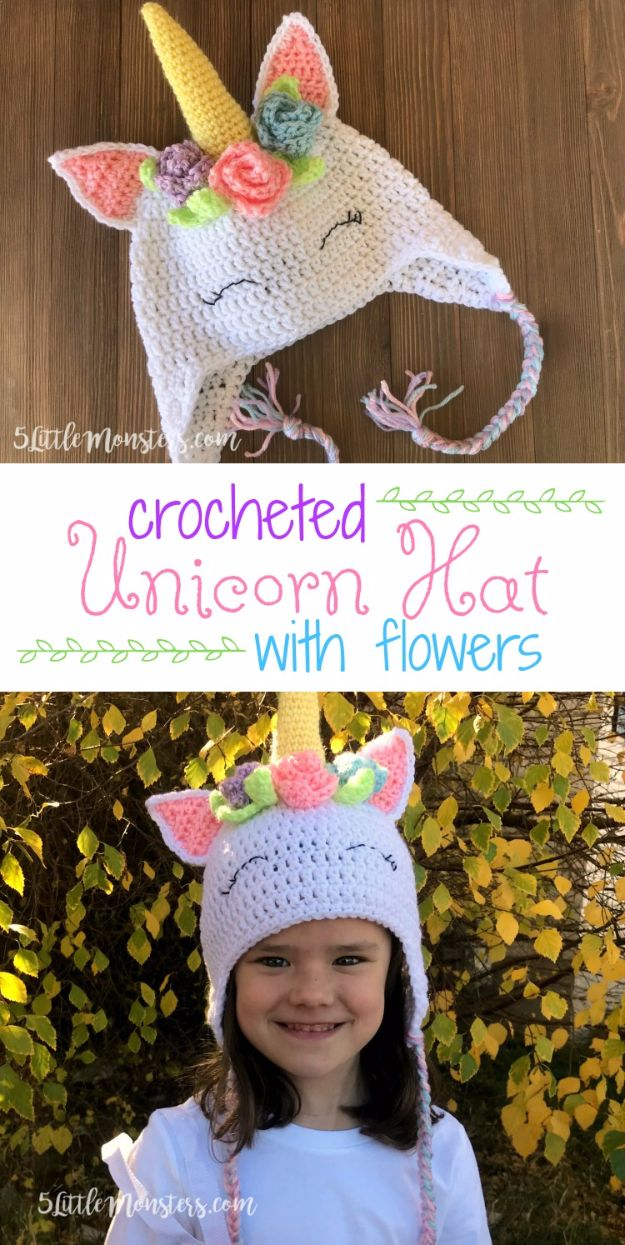 DIY Ideas With Unicorns - Crocheted Unicorn Hat With Flowers - Cute and Easy DIY Projects for Unicorn Lovers - Wall and Home Decor Projects, Things To Make and Sell on Etsy - Quick Gifts to Make for Friends and Family - Homemade No Sew Projects and Pillows - Fun Jewelry, Desk Decor Cool Clothes and Accessories http://diyprojectsforteens.com/diy-ideas-unicorns