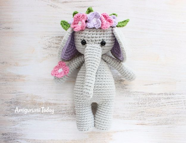 DIY Ideas With Elephants - Cuddle Me Elephant Amigurumi - Easy Wall Art Ideas, Crafts, Jewelry, Arts and Craft Projects for Kids, Teens and Adults- Simple Canvases, Throw Pillows, Cute Paintings for Nurseries, Dollar Store Crafts and Fun Dorm Room and Bedroom Decor - Tutorials for Crafty Ideas Decorated With an Elephant
