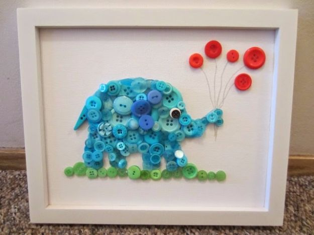 DIY Ideas With Elephants - Cute DIY Craft Elephant Buttons Painting - Easy Wall Art Ideas, Crafts, Jewelry, Arts and Craft Projects for Kids, Teens and Adults- Simple Canvases, Throw Pillows, Cute Paintings for Nurseries, Dollar Store Crafts and Fun Dorm Room and Bedroom Decor - Tutorials for Crafty Ideas Decorated With an Elephant