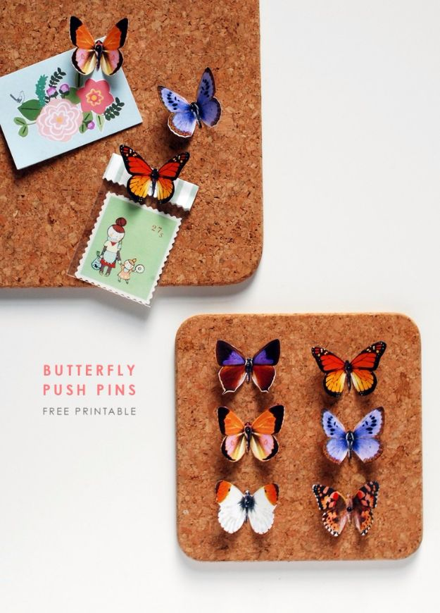 DIY Ideas With Butterflies - DIY Butterfly Push Pins - Cute and Easy DIY Projects for Butterfly Lovers - Wall and Home Decor Projects, Things To Make and Sell on Etsy - Quick Gifts to Make for Friends and Family - Homemade No Sew Projects- Fun Jewelry, Cool Clothes and Accessories http://diyprojectsforteens.com/diy-ideas-butterflies
