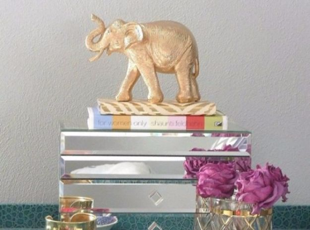 DIY Ideas With Elephants - DIY Gold Elephant - Easy Wall Art Ideas, Crafts, Jewelry, Arts and Craft Projects for Kids, Teens and Adults- Simple Canvases, Throw Pillows, Cute Paintings for Nurseries, Dollar Store Crafts and Fun Dorm Room and Bedroom Decor - Tutorials for Crafty Ideas Decorated With an Elephant http://diyprojectsforteens.com/diy-ideas-elephants
