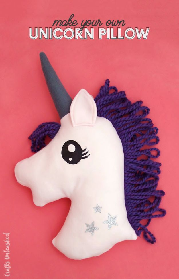 DIY Ideas With Unicorns - DIY Unicorn Pillow - Cute and Easy DIY Projects for Unicorn Lovers - Wall and Home Decor Projects, Things To Make and Sell on Etsy - Quick Gifts to Make for Friends and Family - Homemade No Sew Projects and Pillows - Fun Jewelry, Desk Decor Cool Clothes and Accessories http://diyprojectsforteens.com/diy-ideas-unicorns