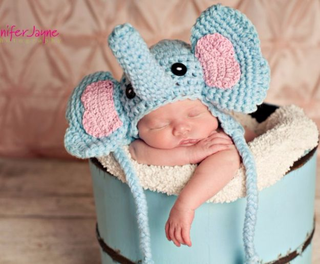 DIY Ideas With Elephants - Elephant Crochet Hat - Easy Wall Art Ideas, Crafts, Jewelry, Arts and Craft Projects for Kids, Teens and Adults- Simple Canvases, Throw Pillows, Cute Paintings for Nurseries, Dollar Store Crafts and Fun Dorm Room and Bedroom Decor - Tutorials for Crafty Ideas Decorated With an Elephant http://diyprojectsforteens.com/diy-ideas-elephants