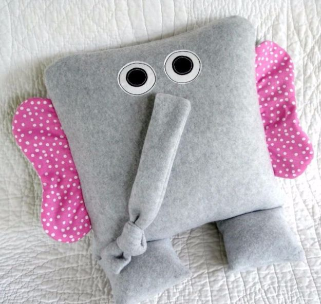 DIY Ideas With Elephants - Elephant Pillows - Easy Wall Art Ideas, Crafts, Jewelry, Arts and Craft Projects for Kids, Teens and Adults- Simple Canvases, Throw Pillows, Cute Paintings for Nurseries, Dollar Store Crafts and Fun Dorm Room and Bedroom Decor - Tutorials for Crafty Ideas Decorated With an Elephant