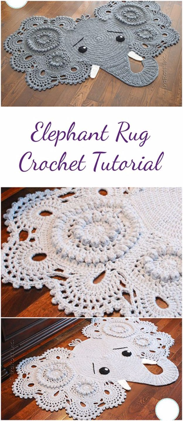 DIY Ideas With Elephants - Elephant Rug Crochet - Easy Wall Art Ideas, Crafts, Jewelry, Arts and Craft Projects for Kids, Teens and Adults- Simple Canvases, Throw Pillows, Cute Paintings for Nurseries, Dollar Store Crafts and Fun Dorm Room and Bedroom Decor - Tutorials for Crafty Ideas Decorated With an Elephant