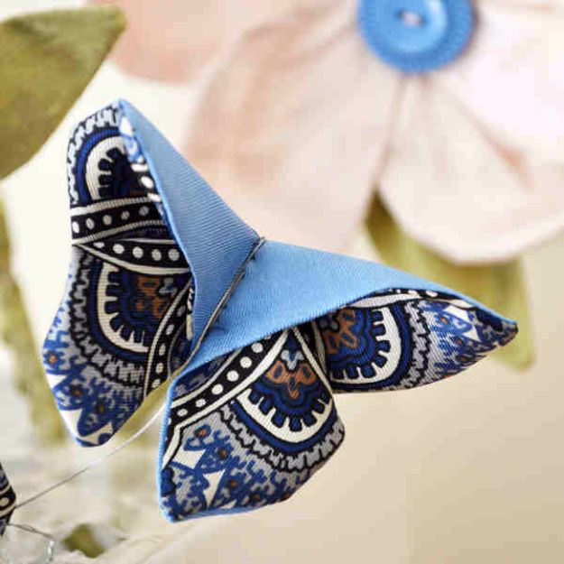DIY Ideas With Butterflies - Fabric Origami Butterfly - Cute and Easy DIY Projects for Butterfly Lovers - Wall and Home Decor Projects, Things To Make and Sell on Etsy - Quick Gifts to Make for Friends and Family - Homemade No Sew Projects- Fun Jewelry, Cool Clothes and Accessories http://diyprojectsforteens.com/diy-ideas-butterflies