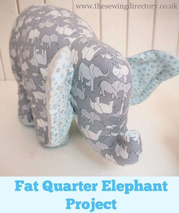 DIY Ideas With Elephants - Fat Quarter Elephant - Easy Wall Art Ideas, Crafts, Jewelry, Arts and Craft Projects for Kids, Teens and Adults- Simple Canvases, Throw Pillows, Cute Paintings for Nurseries, Dollar Store Crafts and Fun Dorm Room and Bedroom Decor - Tutorials for Crafty Ideas Decorated With an Elephant http://diyprojectsforteens.com/diy-ideas-elephants