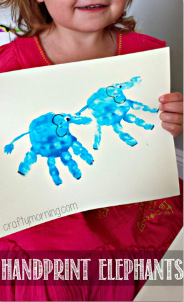 DIY Ideas With Elephants - Handprint Elephants - Easy Wall Art Ideas, Crafts, Jewelry, Arts and Craft Projects for Kids, Teens and Adults- Simple Canvases, Throw Pillows, Cute Paintings for Nurseries, Dollar Store Crafts and Fun Dorm Room and Bedroom Decor - Tutorials for Crafty Ideas Decorated With an Elephant http://diyprojectsforteens.com/diy-ideas-elephants
