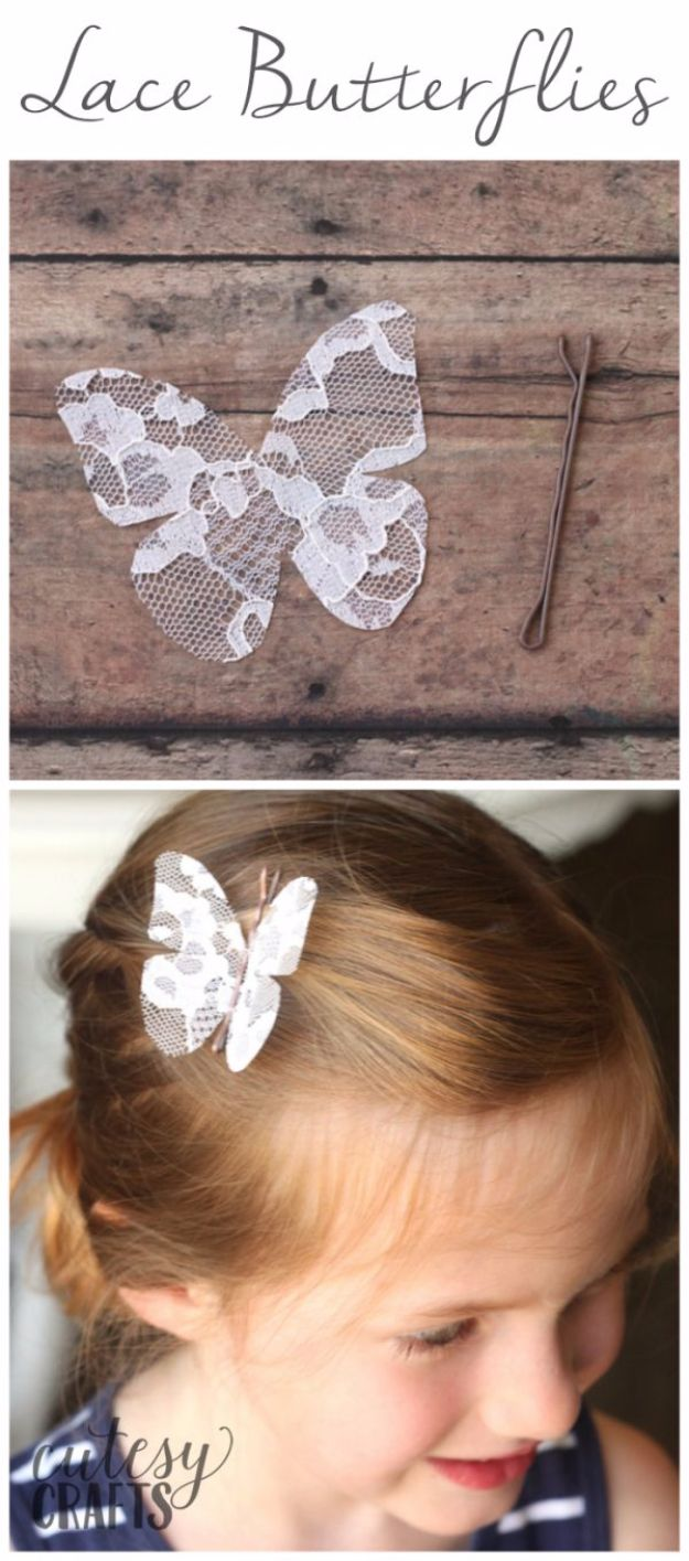DIY Ideas With Butterflies - Lace Butterflies - Cute and Easy DIY Projects for Butterfly Lovers - Wall and Home Decor Projects, Things To Make and Sell on Etsy - Quick Gifts to Make for Friends and Family - Homemade No Sew Projects- Fun Jewelry, Cool Clothes and Accessories http://diyprojectsforteens.com/diy-ideas-butterflies