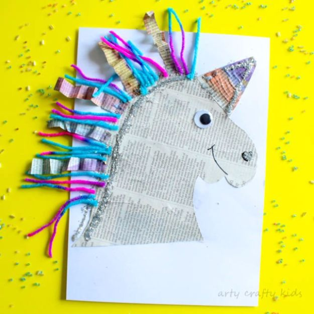 DIY Ideas With Unicorns - Mixed Media Paper Unicorn Craft - Cute and Easy DIY Projects for Unicorn Lovers - Wall and Home Decor Projects, Things To Make and Sell on Etsy - Quick Gifts to Make for Friends and Family - Homemade No Sew Projects and Pillows - Fun Jewelry, Desk Decor Cool Clothes and Accessories