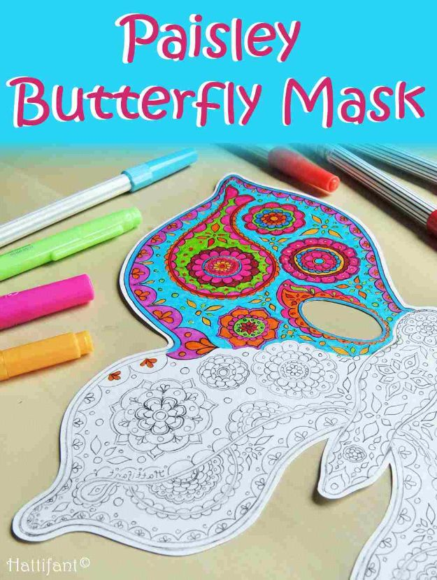 DIY Ideas With Butterflies - Paisley Butterfly Masks - Cute and Easy DIY Projects for Butterfly Lovers - Wall and Home Decor Projects, Things To Make and Sell on Etsy - Quick Gifts to Make for Friends and Family - Homemade No Sew Projects- Fun Jewelry, Cool Clothes and Accessories http://diyprojectsforteens.com/diy-ideas-butterflies