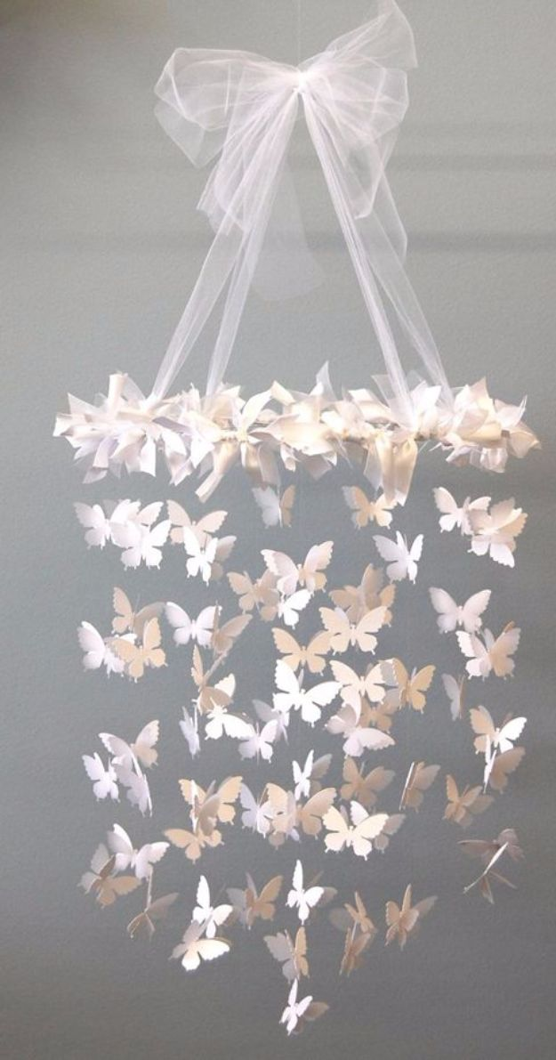 DIY Ideas With Butterflies - Paper Butterfly Mobile - Cute and Easy DIY Projects for Butterfly Lovers - Wall and Home Decor Projects, Things To Make and Sell on Etsy - Quick Gifts to Make for Friends and Family - Homemade No Sew Projects- Fun Jewelry, Cool Clothes and Accessories http://diyprojectsforteens.com/diy-ideas-butterflies
