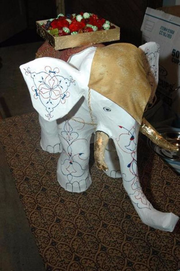 DIY Ideas With Elephants - Paper Mache Elephant - Easy Wall Art Ideas, Crafts, Jewelry, Arts and Craft Projects for Kids, Teens and Adults- Simple Canvases, Throw Pillows, Cute Paintings for Nurseries, Dollar Store Crafts and Fun Dorm Room and Bedroom Decor - Tutorials for Crafty Ideas Decorated With an Elephant http://diyprojectsforteens.com/diy-ideas-elephants