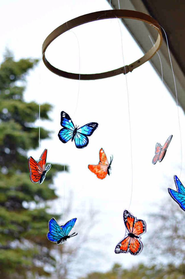 DIY Ideas With Butterflies - Shrink Plastic Butterfly Mobile - Cute and Easy DIY Projects for Butterfly Lovers - Wall and Home Decor Projects, Things To Make and Sell on Etsy - Quick Gifts to Make for Friends and Family - Homemade No Sew Projects- Fun Jewelry, Cool Clothes and Accessories http://diyprojectsforteens.com/diy-ideas-butterflies