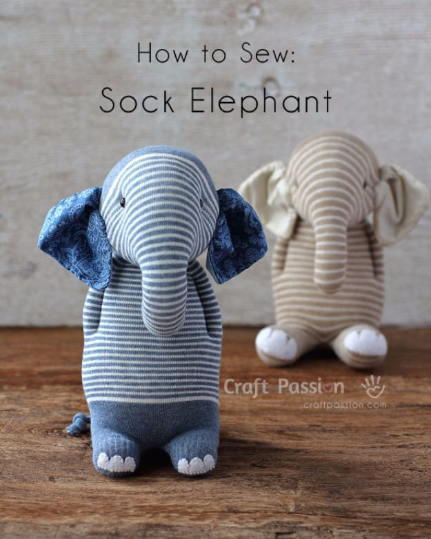 DIY Ideas With Elephants - Sock Elephant - Easy Wall Art Ideas, Crafts, Jewelry, Arts and Craft Projects for Kids, Teens and Adults- Simple Canvases, Throw Pillows, Cute Paintings for Nurseries, Dollar Store Crafts and Fun Dorm Room and Bedroom Decor - Tutorials for Crafty Ideas Decorated With an Elephant http://diyprojectsforteens.com/diy-ideas-elephants