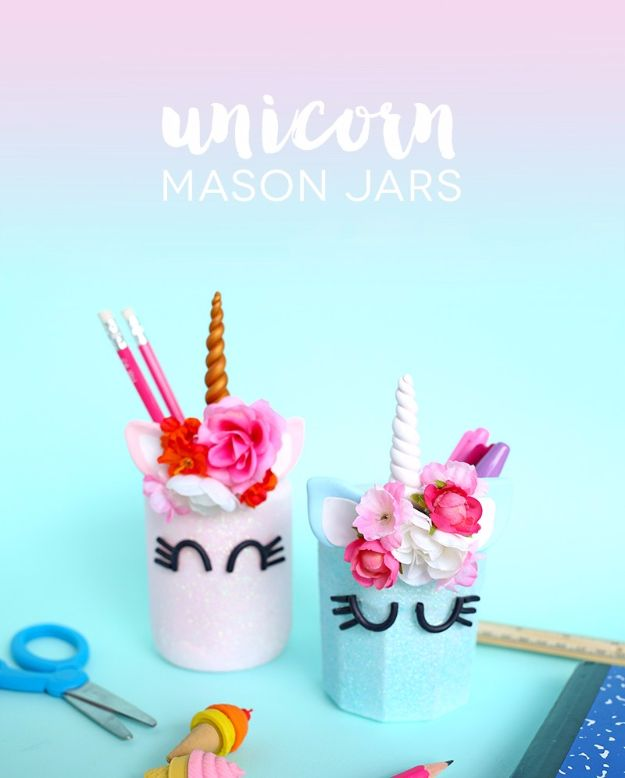 DIY Ideas With Unicorns - Unicorn Mason Jars - Cute and Easy DIY Projects for Unicorn Lovers - Wall and Home Decor Projects, Things To Make and Sell on Etsy - Quick Gifts to Make for Friends and Family - Homemade No Sew Projects and Pillows - Fun Jewelry, Desk Decor Cool Clothes and Accessories http://diyprojectsforteens.com/diy-ideas-unicorns