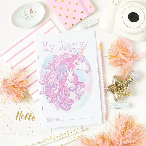 DIY Ideas With Unicorns - Unicorn Printable Diary - Cute and Easy DIY Projects for Unicorn Lovers - Wall and Home Decor Projects, Things To Make and Sell on Etsy - Quick Gifts to Make for Friends and Family - Homemade No Sew Projects and Pillows - Fun Jewelry, Desk Decor Cool Clothes and Accessories http://diyprojectsforteens.com/diy-ideas-unicorns