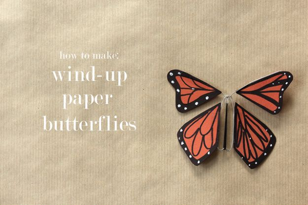 DIY Ideas With Butterflies - Wind-Up Paper Butterflies - Cute and Easy DIY Projects for Butterfly Lovers - Wall and Home Decor Projects, Things To Make and Sell on Etsy - Quick Gifts to Make for Friends and Family - Homemade No Sew Projects- Fun Jewelry, Cool Clothes and Accessories http://diyprojectsforteens.com/diy-ideas-butterflies