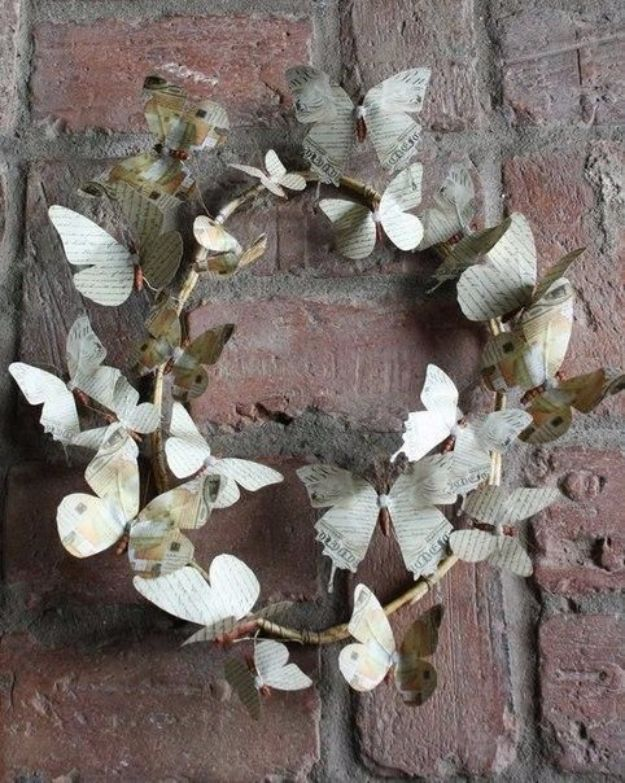 DIY Ideas With Butterflies - Wreath Of Paper Butterflies - Cute and Easy DIY Projects for Butterfly Lovers - Wall and Home Decor Projects, Things To Make and Sell on Etsy - Quick Gifts to Make for Friends and Family - Homemade No Sew Projects- Fun Jewelry, Cool Clothes and Accessories http://diyprojectsforteens.com/diy-ideas-butterflies