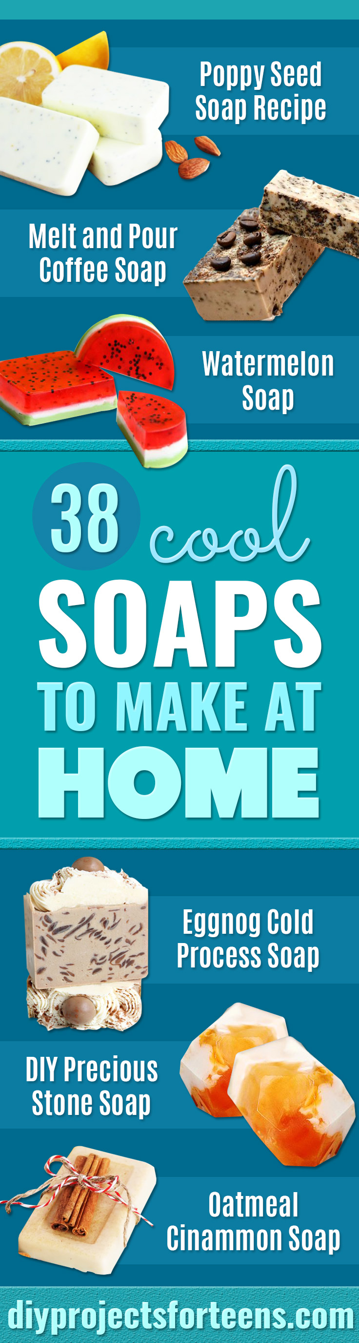 Cool Soaps To Make At Home - Grapefruit Mint Poppyseed Bars - DIY Soap Recipes and Ideas - Best Soap Tutorials for Soap Making Without Lye - Easy Cold Process Melt and Pour Tips for Beginners - Crockpot, Essential Oils, Homemade Natural Soaps and Products - Creative Crafts and DIY for Teens, Kids and Adults #soapmaking #diygifts #soap #soaprecipes