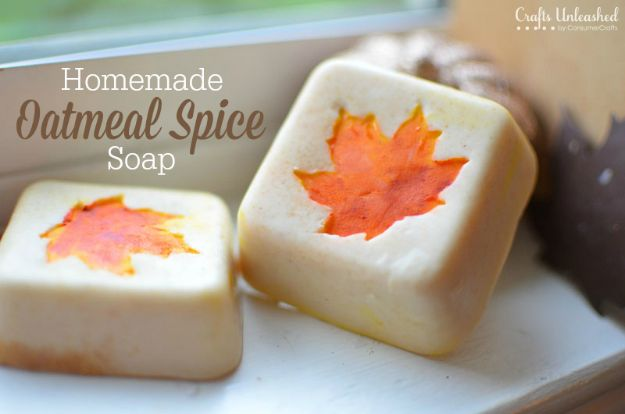 Cool Soaps To Make At Home - Autumn Leaf Oatmeal Spice Homemade Soap - DIY Soap
