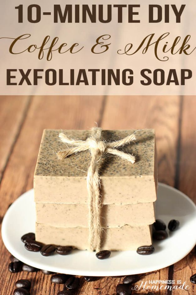 Cool Soaps To Make At Home - Coffee & Milk Exfoliating Soap - DIY Soap Recipes and Ideas - Best Soap Tutorials for Soap Making Without Lye - Easy Cold Process Melt and Pour Tips for Beginners - Crockpot, Essential Oils, Homemade Natural Soaps and Products - Creative Crafts and DIY for Teens, Kids and Adults #soapmaking #diygifts #soap #soaprecipes