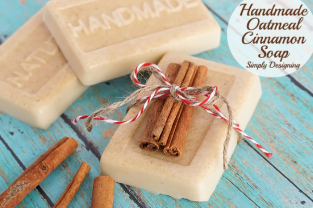 Cool Soaps To Make At Home - Handmade Oatmeal Cinnamon Soap - DIY Soap Recipes and Ideas - Best Soap Tutorials for Soap Making Without Lye - Easy Cold Process Melt and Pour Tips for Beginners - Crockpot, Essential Oils, Homemade Natural Soaps and Products - Creative Crafts and DIY for Teens, Kids and Adults http://diyprojectsforteens.com/cool-soaps-to-make