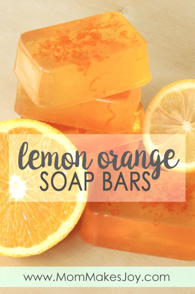 Cool Soaps To Make At Home - Lemon Orange Soap Bars - DIY Soap Recipes and Ideas - Best Soap Tutorials for Soap Making Without Lye - Easy Cold Process Melt and Pour Tips for Beginners - Crockpot, Essential Oils, Homemade Natural Soaps and Products - Creative Crafts and DIY for Teens, Kids and Adults #soapmaking #diygifts #soap #soaprecipes
