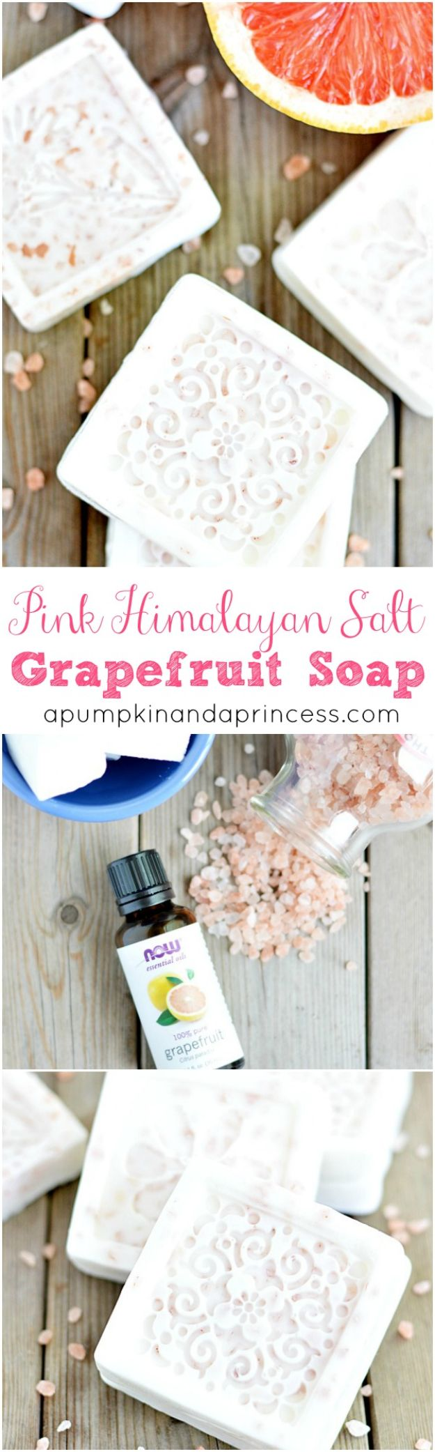 Cool Soaps To Make At Home - Pink Himalayan Salt Grapefruit Soap - DIY Soap Recipes and Ideas - Best Soap Tutorials for Soap Making Without Lye - Easy Cold Process Melt and Pour Tips for Beginners - Crockpot, Essential Oils, Homemade Natural Soaps and Products - Creative Crafts and DIY for Teens, Kids and Adults #soapmaking #diygifts #soap #soaprecipes