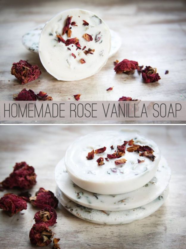Cool Soaps To Make At Home - Rose Vanilla Soap - DIY Soap Recipes and Ideas - Best Soap Tutorials for Soap Making Without Lye - Easy Cold Process Melt and Pour Tips for Beginners - Crockpot, Essential Oils, Homemade Natural Soaps and Products - Creative Crafts and DIY for Teens, Kids and Adults http://diyprojectsforteens.com/cool-soaps-to-make