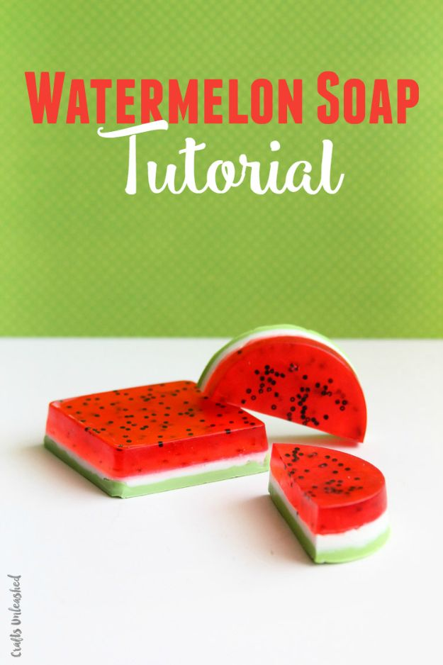 Cool Soaps To Make At Home - Watermelon Soap - DIY Soap Recipes and Ideas - Best Soap Tutorials for Soap Making Without Lye - Easy Cold Process Melt and Pour Tips for Beginners - Crockpot, Essential Oils, Homemade Natural Soaps and Products - Creative Crafts and DIY for Teens, Kids and Adults http://diyprojectsforteens.com/cool-soaps-to-make